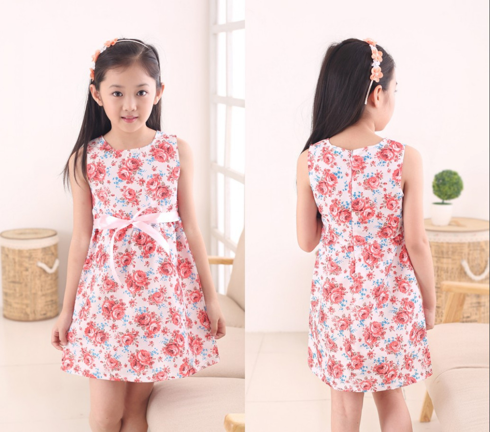 2019 Fashion Kids White Red Bow Trendiga Flower Vestidos Infantis Dress Girls Girls Födelsedagsfest Flower Princess Dress 3-12y
