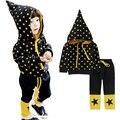 Ropa de los niños niñas set niños chándales de marca fija el Juego Deportes Chaqueta con capucha + pantalones ropa de los muchachos Estrella Impreso trajes de navidad
