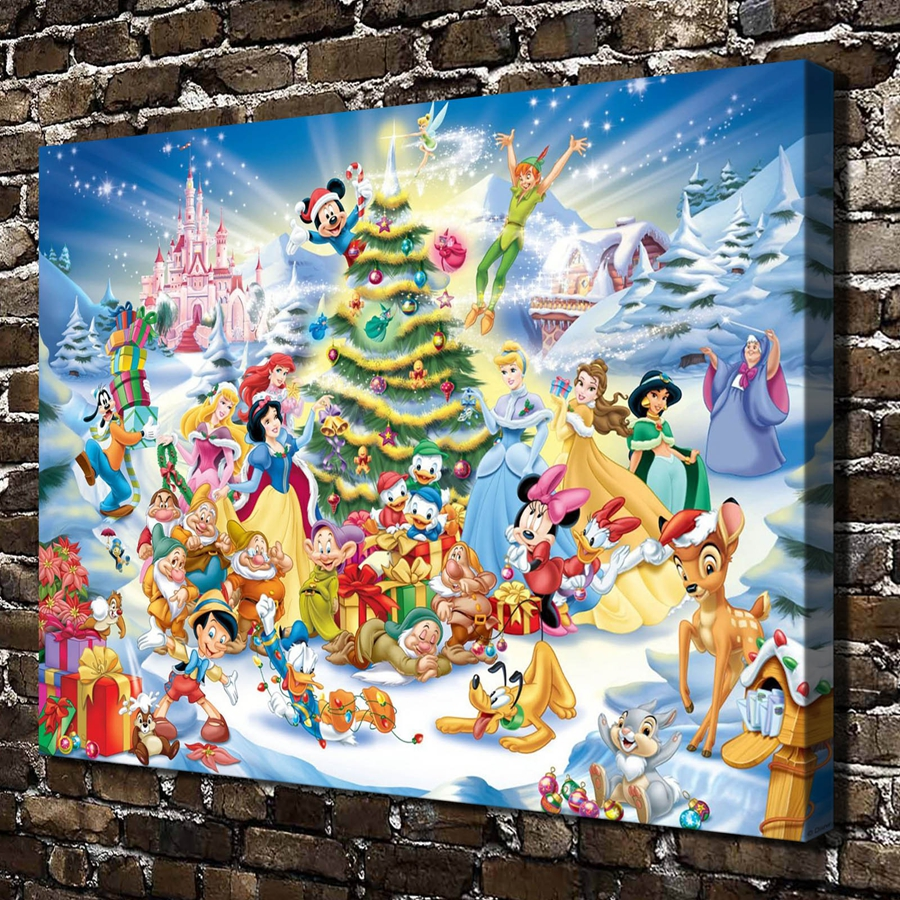 A3124 Fairy Tale Princess Mickey Mouse Cartoon .HD Canvas Print Home decoration Living Room bedroom Wall pictures Art painting