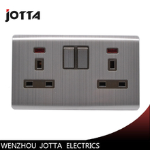 13A double wall socket UK standrad stainless metal style with led light