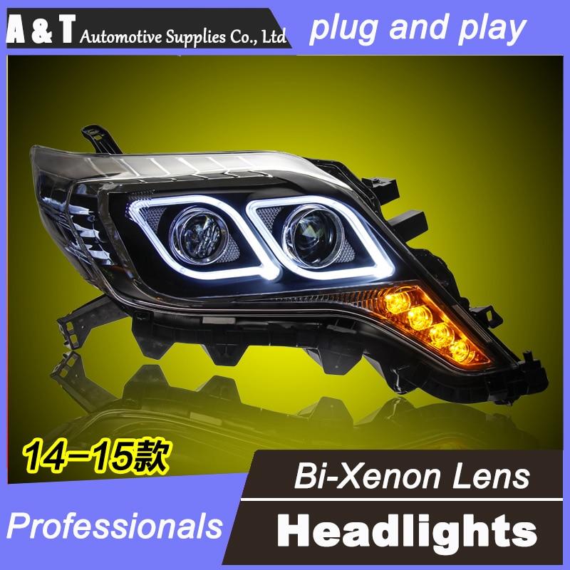 цена на car styling For Toyota Prado headlights U angel eyes DRL 2014-2015 For Toyota Prado LED light bar DRL Q5 bi xenon lens h7 xenon