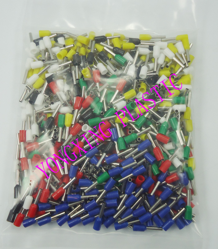 600PCS/ E1008 6 color insulated cord end terminal Bootlace cooper Ferrules kit set Wire Copper Crimp Connector Cord Pin End 1065pcs set 3 colors 22 12awg wire copper crimp connector insulated cord pin end terminal bootlace cooper ferrules kit set brass
