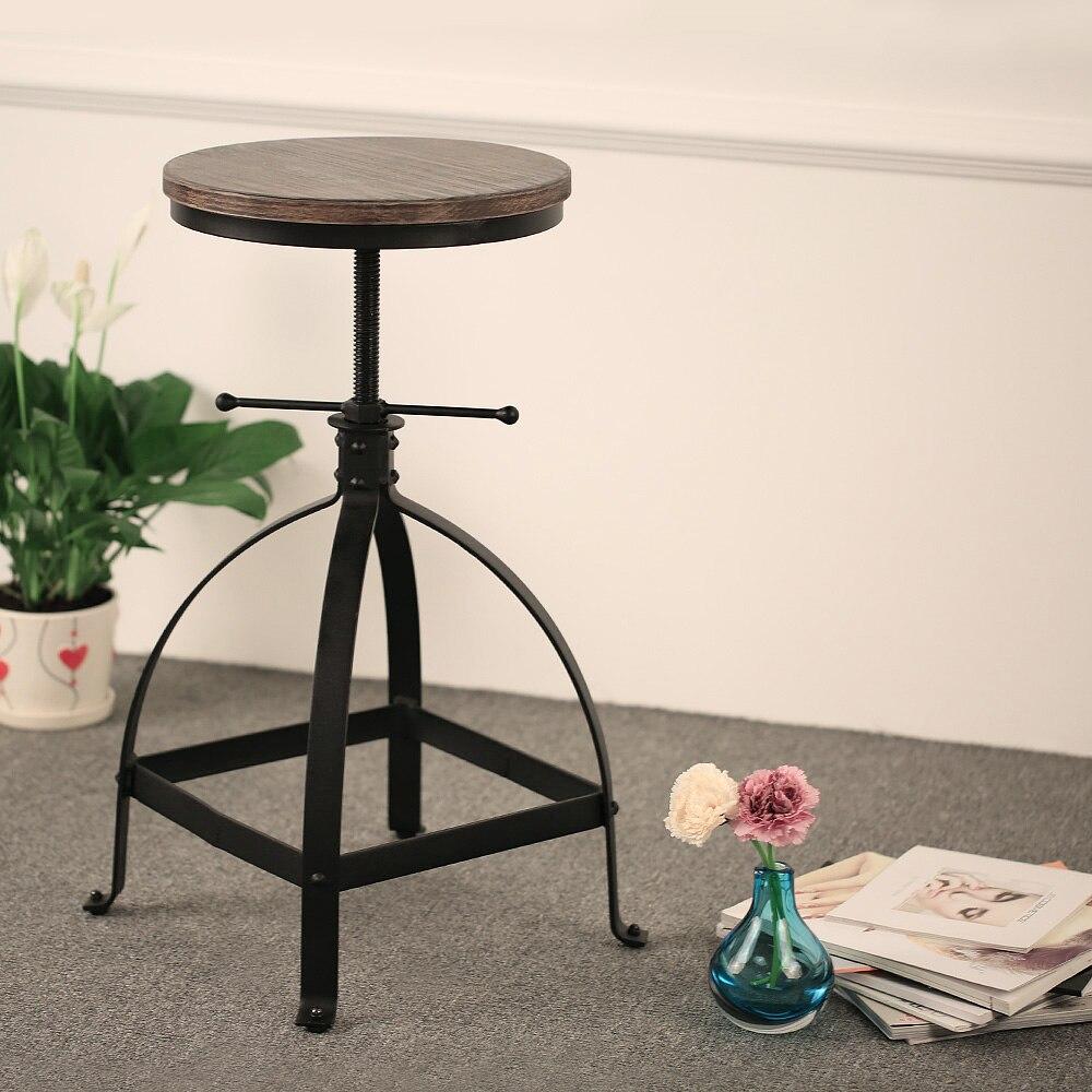 ikayaa estilo industrial giratoria ajustable altura cocina desayuno comedor silla taburete de la barra de madera