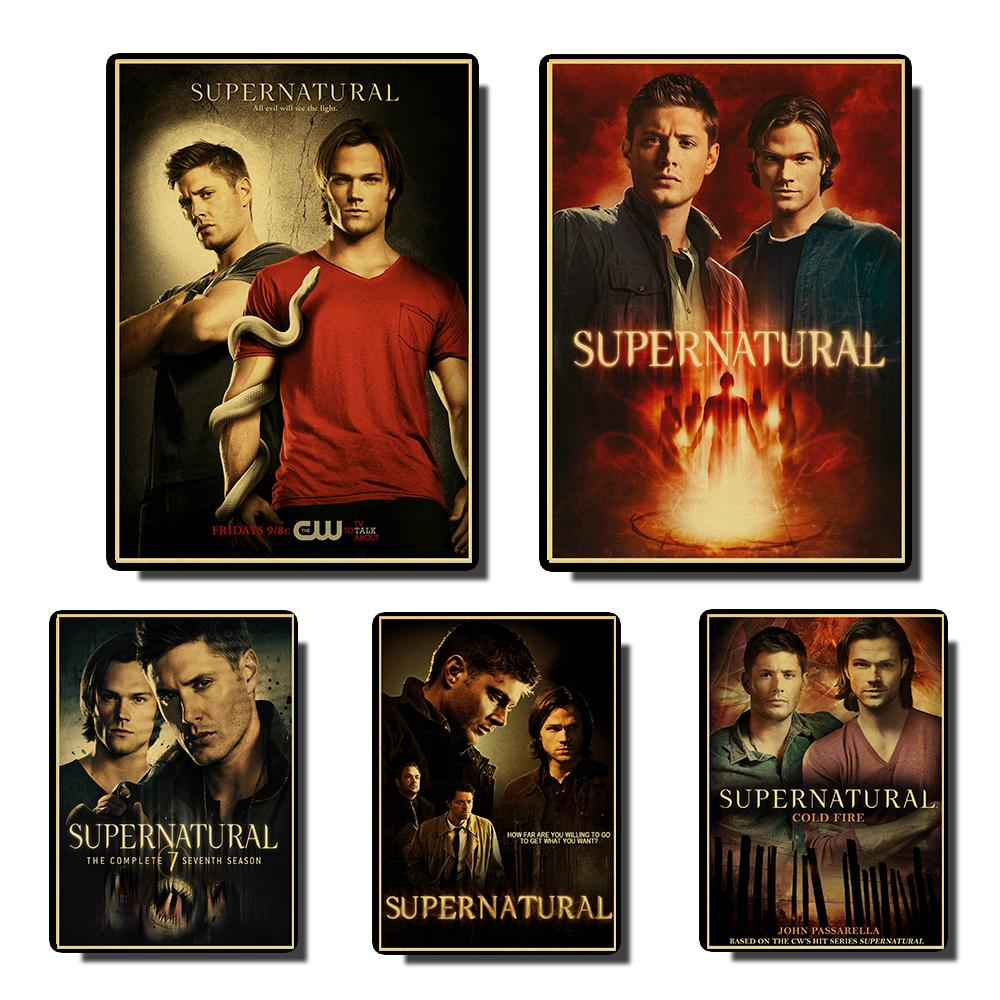 Supernatural Sam Dean SD Retro Poster Vintage Posters Prints Wall Painting High Quality Decor Poster Home Decoration