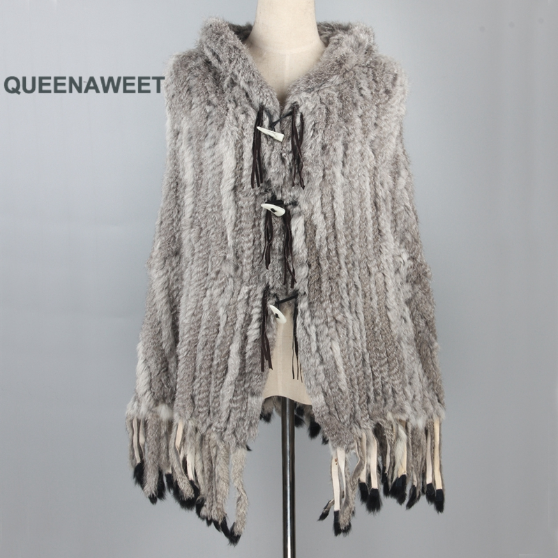 Real Rabbit Fur Poncho With Hood And Tassels Women's Shawl Horn Button Fur Poncho Wintre Pashmina