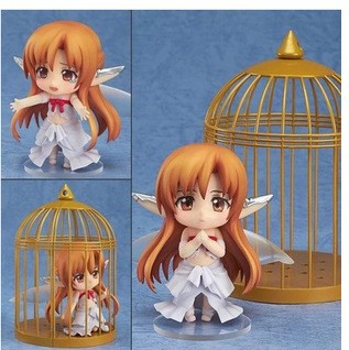 Free shipping Q Version Sword Art Online Asuna Elf Cage PVC Action Figures Collectible Model Toys 4 10cm 382 sword art online pvc figures yuki asuna model toys with gift box gifts brinquedos