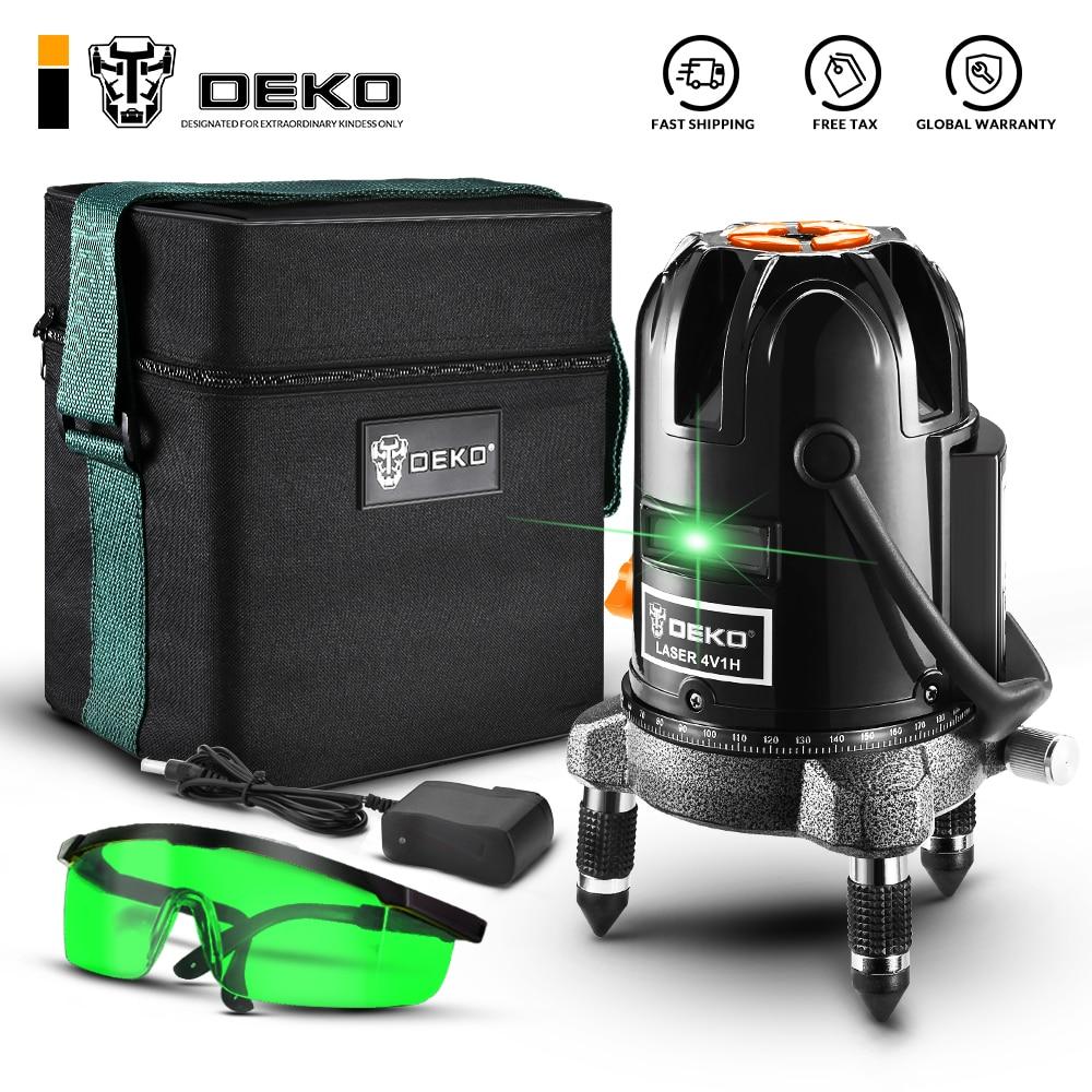 DEKO Green 5 Lines 6 Points Laser Level High Precision Strong Light Nivel a Laser 360