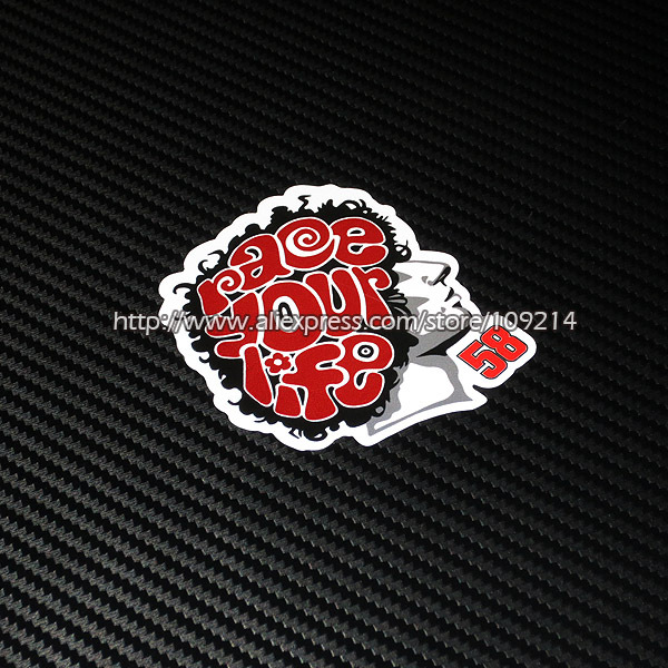 Hot sale Marco Simoncelli 58 helmet motorcycle Sticker Decals Waterproof 16 ...