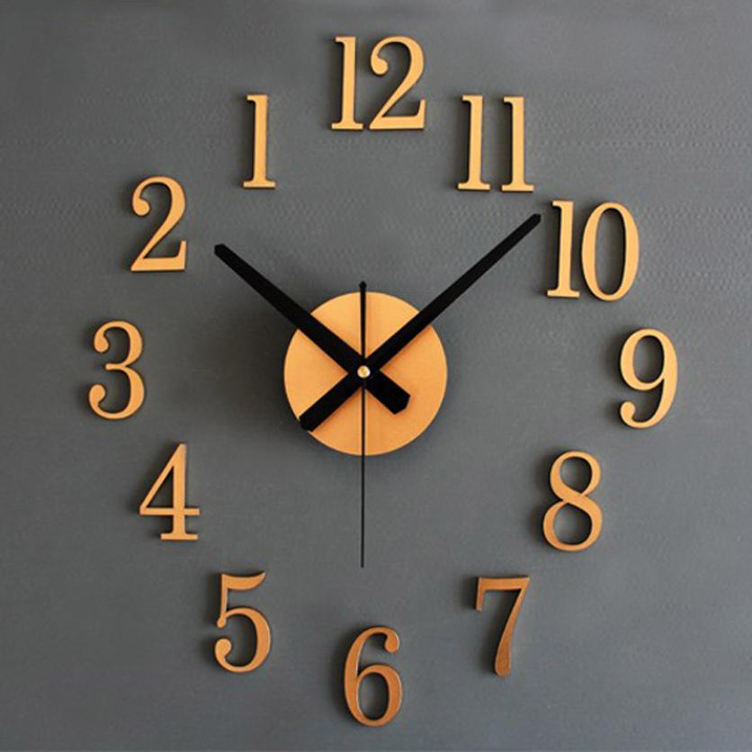 Mosunx Business Fashion Home Back In Time True 3D Stereo Diy Metallic Wall Clock