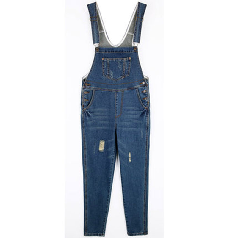 Spring Women Jumpsuit Denim Overalls Vintage Casual Rompers Blue Loose Jumsuits Denim Pants Ladies Bleached Retro Coveralls