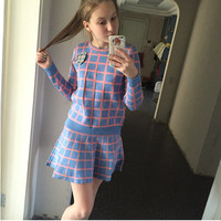 High Quality Fall Pullover Knitted Sweater Hoodies Top Skirt Set Women 2 Pcs Clothing Set Plaid