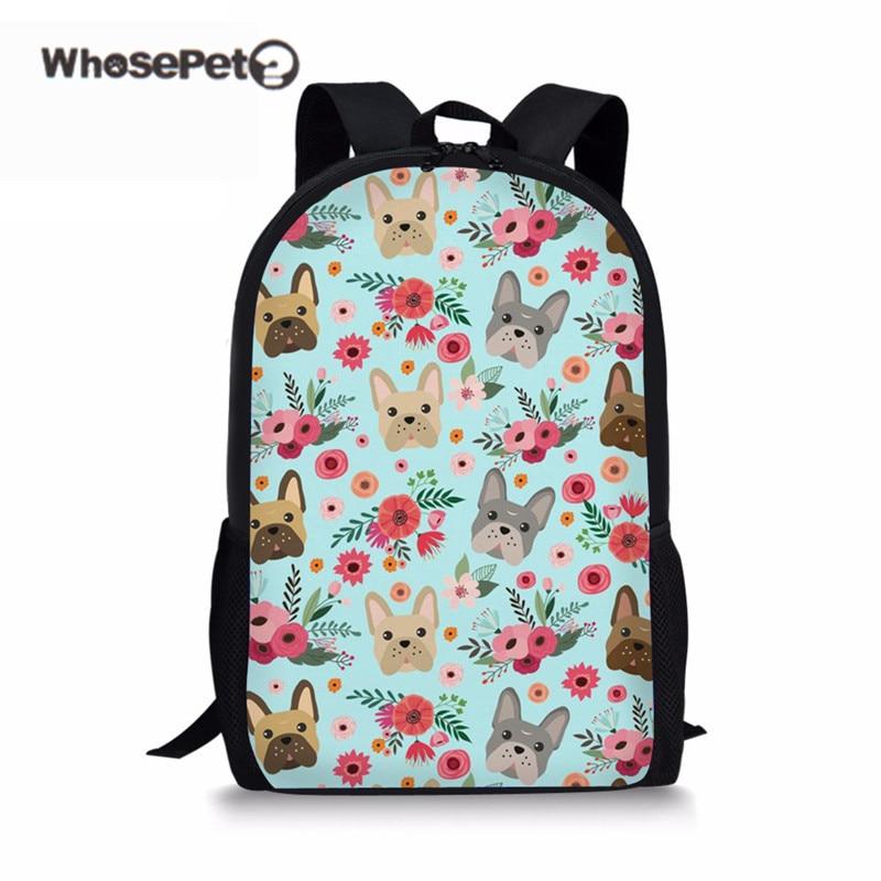 WHOSEPET Children Schoolbag Cute Bulldog Print Womens School Bag for Kids Boy Girls Shoulder Book Bags Casual Student Mochilas