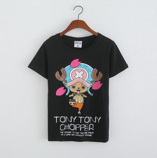 Anime One Piece Tony Chopper T-Shirt Cosplay Tee Shirts Cotton Tops Lover Blouse