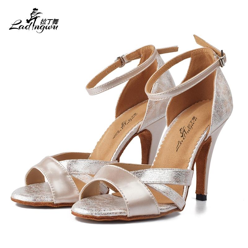 Ladingwu Latin Dance Shoes Women Ballroom dancing shoes for women Flannel and PU Apricot Pink Black Dance Heels Sandals Women meifeier 407 women s fashionable knitted chiffon blouse apricot l