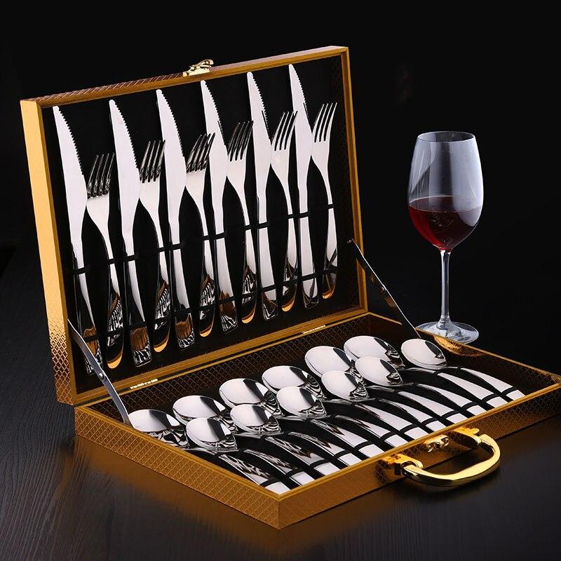 Stainless Steel Flatware Silverware Set With Luxury Gift Box Flatware Set Include Dessert Forks Knife Dinner