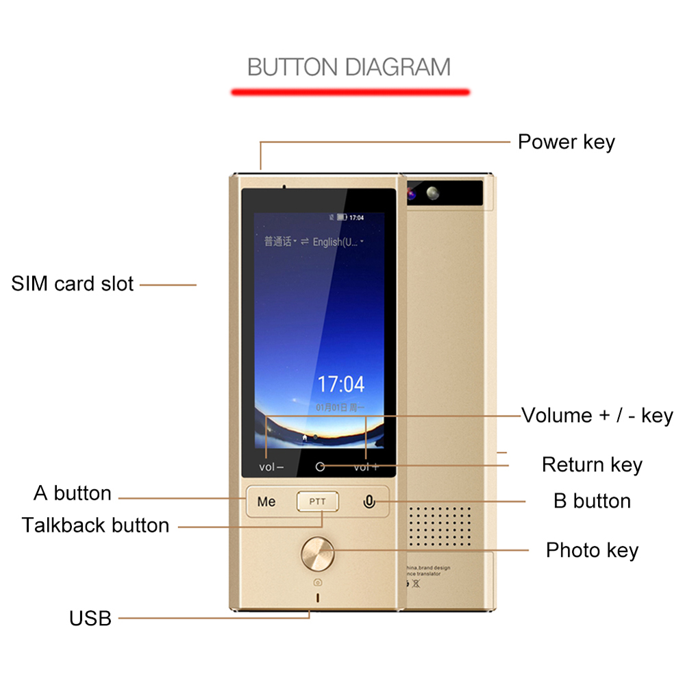 Multi Language Portable Smart Voice Language Translator Supports 107 Languages with Quad Core High Speed CPU 4