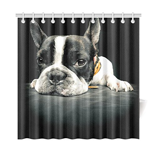 Cute French Bulldog Bathroom Accessories Shower Curtain With Hooks