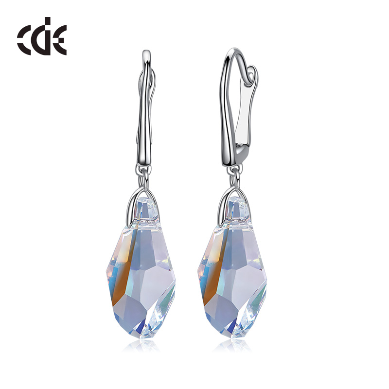 CDE Crystals from Swarovski 925 Sterling Silver Dangle Earrings Women Luxury Fashion Jewelry Water Drop Rhinestone Sexy Gift цена 2017