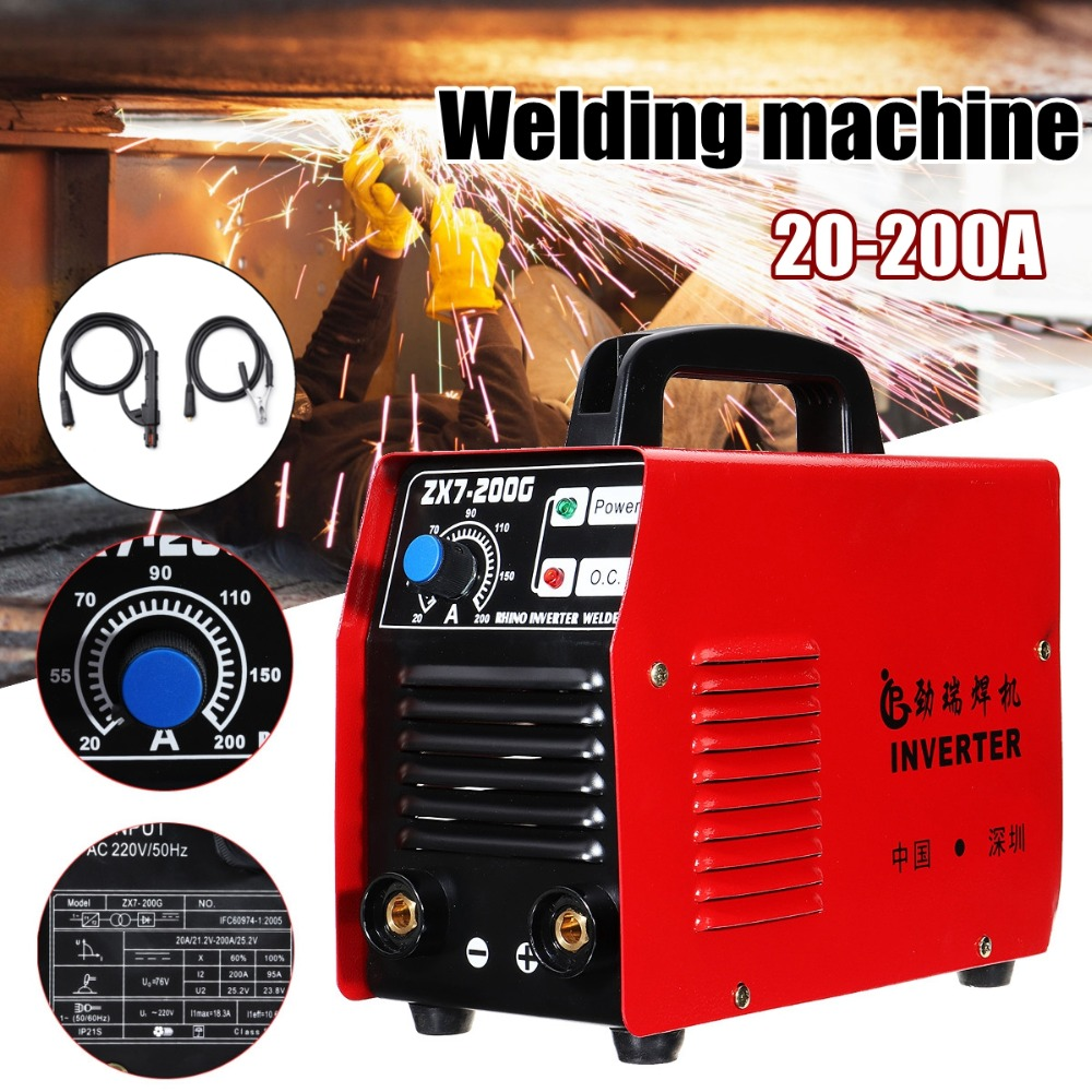 200AMP Welding Inverter Machine Portable MMA/ARC Safety Welder Machine ZX7-200G IGBT with Welder clamp and Ground clamp 200amp 220v welding welder inverter dc electrode arc smaw stick rod igbt zx7 200t