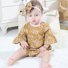 2019 Lovely Newborn Girls Jumpsuit Infant Baby Girl Floral Rompers Summer Horn Sleeve Bow-knot Romper Baby Girls Clothes Sunsuit knot front open midriff floral romper