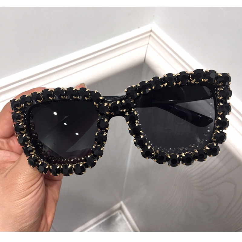 Vintage Glasses Shade Rhinestone Bling Woman Oversize Fashion Women UV400 Square