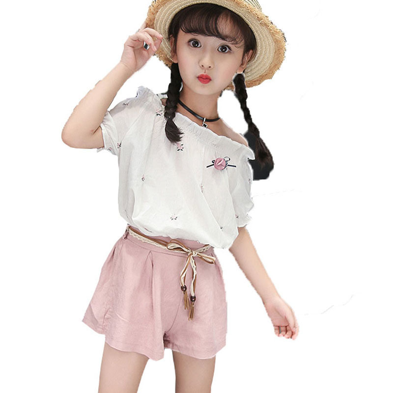 teenage baby girl clothes sets 2018 summer casual girls shorts sets white blouses tops pink green shorts children clothing set