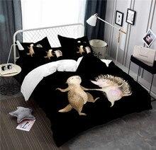 Small Animal Pattern Bedding Cute Groundhog With Hedgehog Set Kids Cartoon Duvet Cover Home Decor