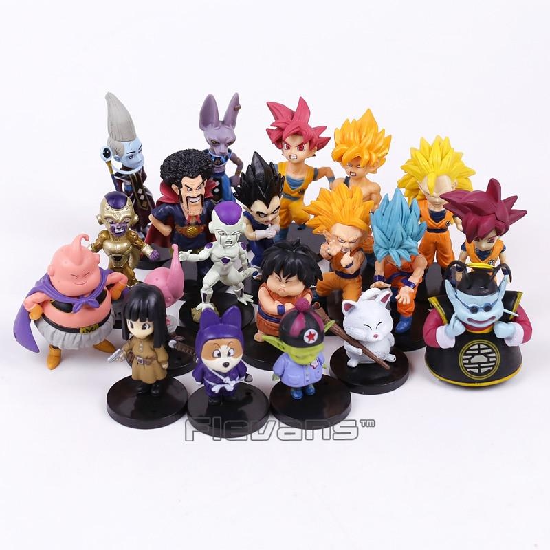 все цены на Dragon Ball Z PVC Figures Toys 20pcs/set Son Goku Vetega Majin Buu Freeza Beerus Whis Mark Karin Gotenks онлайн