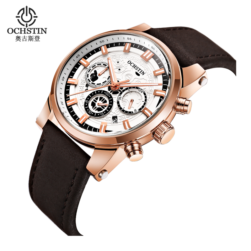 Watch Men Luxury Brand OCHSTIN Sport Quartz Watch Men Waterproof Leather Business Clock Male Wristwatch Relogio Masculino
