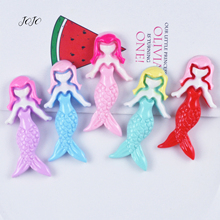 JOJO BOWS 10pcs Resin Patches Solid Mermaid Pattern Accessories For Needlework DIY Hair Rope Bows Materials Garment Sewing Patch