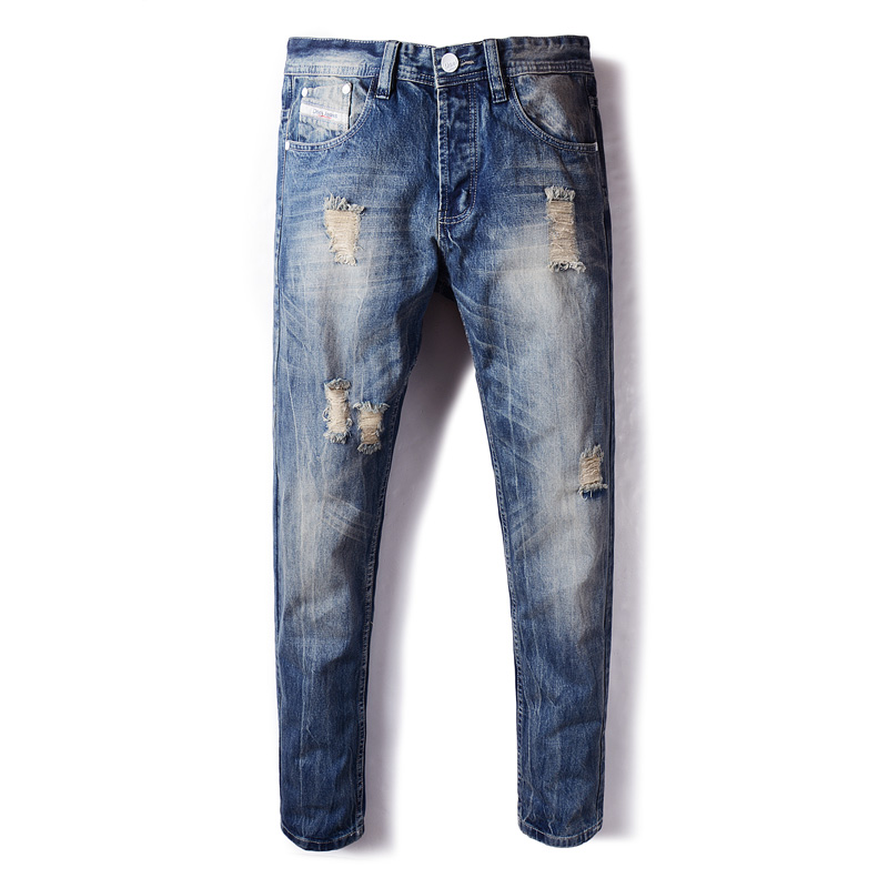 Italian Style Fashion Mens Jeans Blue Color Frayed Hole Ripped Jeans For Men Buttons Pants DSEL Brand Straight Fit Biker Jeans italian style retro design mens jeans pants dark color straight slim fit denim frayed ripped jeans men dsel brand biker jeans