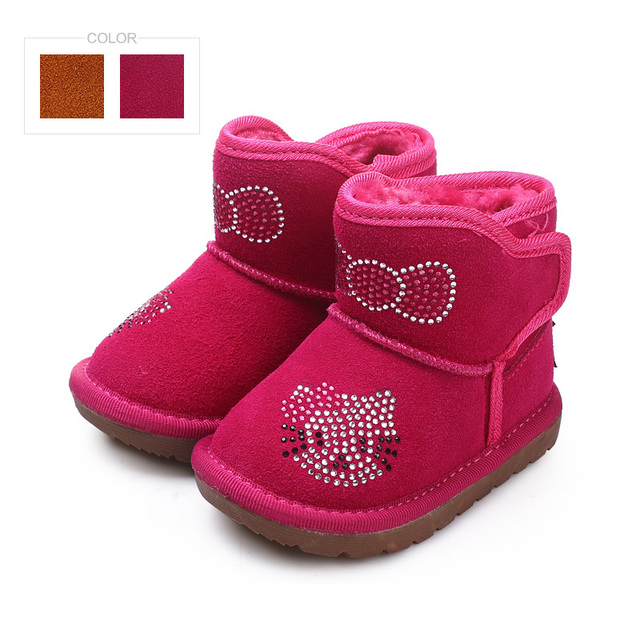 Genuine leather baby snow boots Winter baby shoes for girls boys ...