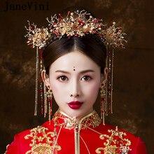 7b25c6baca3c JaneVini Tradizionale Stile Cinese Copricapo Da Sposa Gioielli Antichi In  Rilievo Rosso Forcelle Ornamenti Dei Capelli Della Spo.
