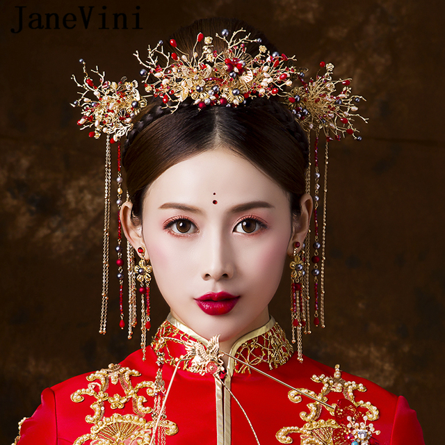 JaneVini Traditional Chinese Style Bridal Headdress Ancient Jewelry Red Beaded Hairpins Wedding Ornaments Bride Hair Accessories