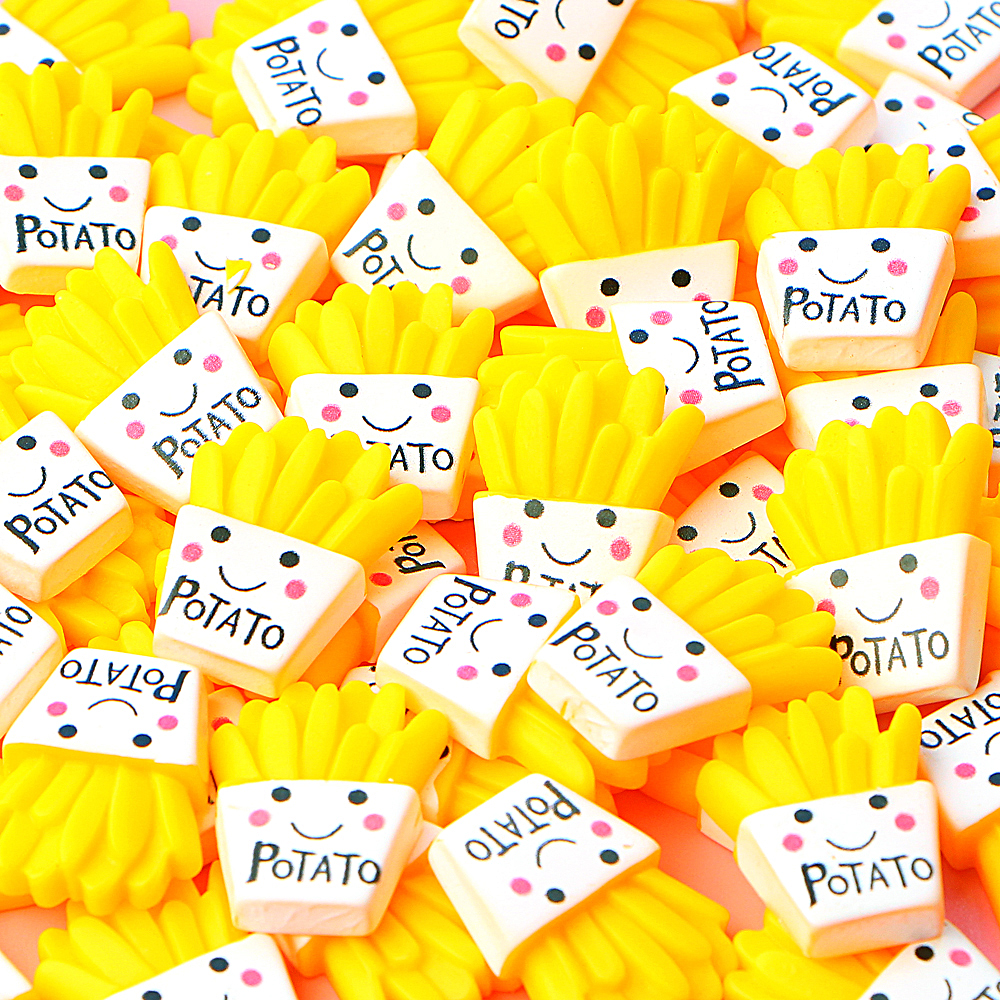 10Pcs/lot French Fries Polymer Slime Charms Modeling Clay DIY Kit Accesorios Box Toy For Children Slime Supplies