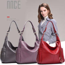 Womens new commuter leather shoulder bag Vertical square large capacity Messenger
