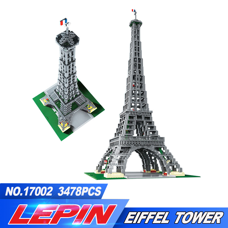 New LEPIN 17002 3478pcs IN STOCK Free Shipping The Eiffel Tower Model Building Kits Brick Toys Compatible modern style bedside wall lamp bedroom stair lighting crystal wall lights e27 led bulb silver gold led lamp for bedroom decor