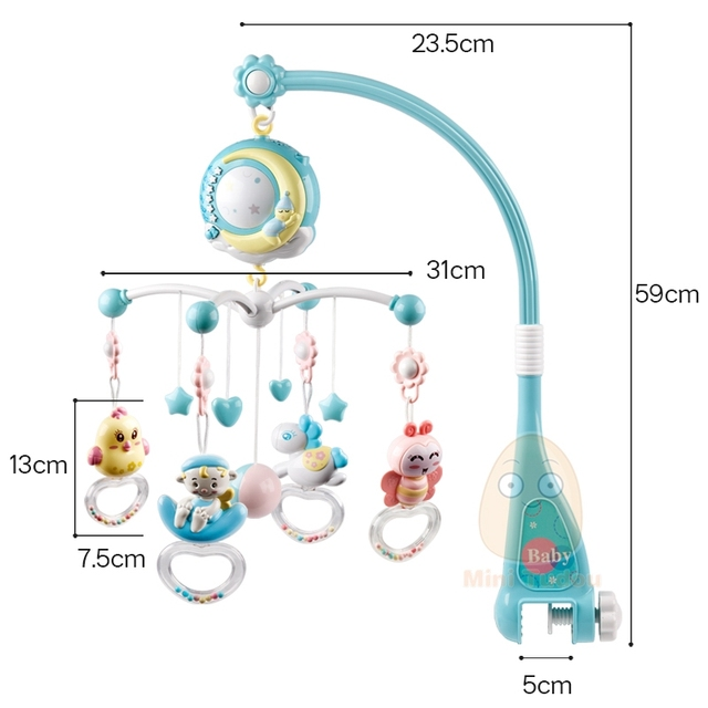 Baby Rattles Crib Mobiles Toy Holder Rotating Mobile Bed Bell Musical Box Projection 0-12 Months Newborn Infant Baby Boy Toys 5