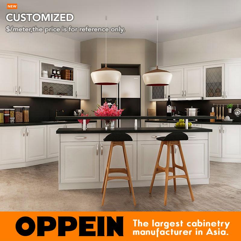 Oppein Europe Style White Kitchen Cabinet Small Kitchen Furniture Op16 Pvc07 China