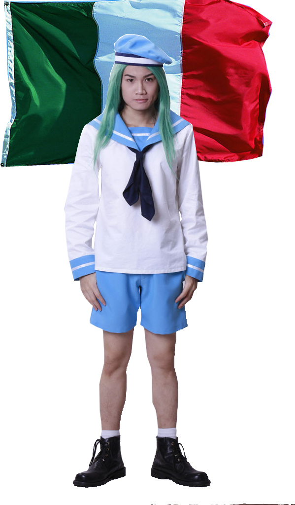 Free Shipping Axis Powers Hetalia  Italiana Rovino Vargas Sky blue Boy's Sailor Uniform Anime Cosplay Costume