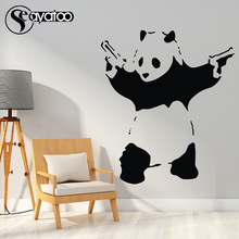 Seayatoo Banksy Panda Vinyl Wall Sticker Decal Graffiti Street Cartoon Kids Bedroom Art Mural Home Decor
