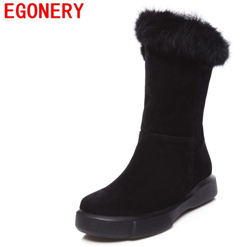 EGONERY women high low heel mid snow boots woman round toe good quality shoes thick fur brand warm plush insid 3 color boots lin king hot sale women snow boots lace up flock solid high top ankle boots round toe thick sole low heel warm wintrer boots