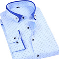 Men's Slim Fit Polka Dot Print Dress Shirts Fashion Design Button-Down Collar Men's Clothing Men's Social Formal Business Shirts