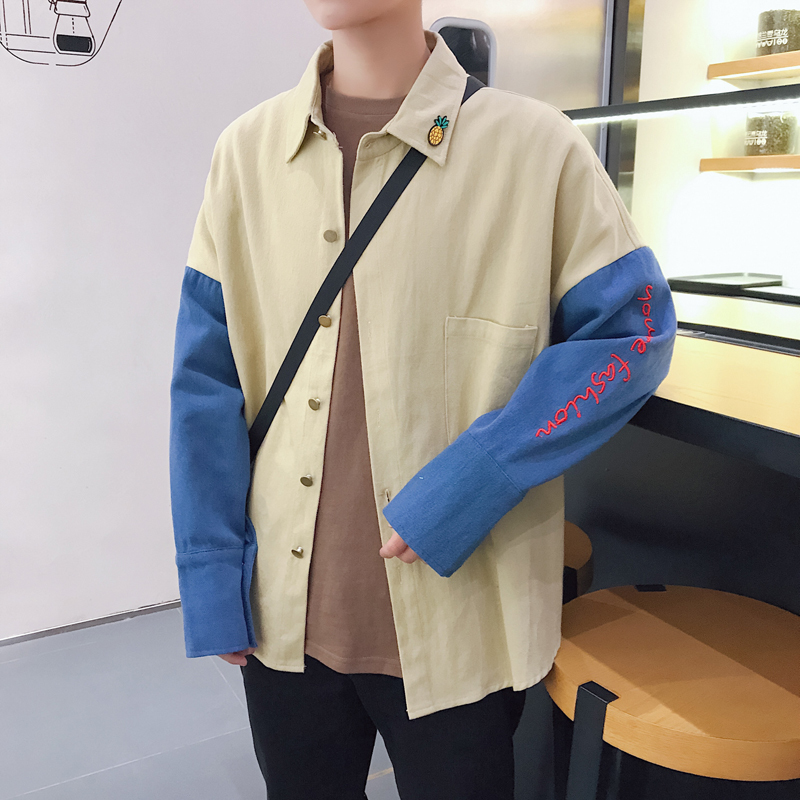 2018 spring and summer new mens embroidered denim shirt stitching jacket casual fashion personality temperament tide