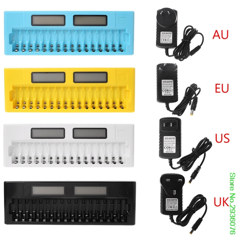 US/EU/UK/AU Plug 16 Slots LCD Intelligent Smart Battery Charger 1.2V AA AAA Ni-MH Ni-Cd Batteries Drop Shipping oem highly quality 16 solts lcd smart cells battery charger aa aaa ni mh ni cd 16 bay 16 slot 16 bank fast batteries chargers
