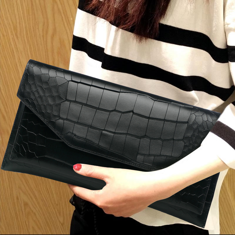 Brief Lady Cover Genuine Leather Envelope Bag New Travel Black Cowhide Day Clutches Fashion Alligator Shoulder Messenger Bag famous brand luxury cowhide genuine leather day clutches women large capacity butterfly diamond cover shoulder envelope hand bag