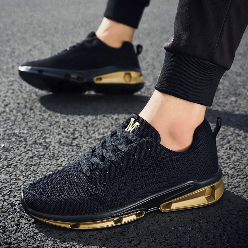 Mans Selvagens gold Leves Boca White Tênis Calçado black Respirável Malha De Casuais Rasa Homens Sapatos Cores Correspondência Esportes Wearable 6RqwFpxXn