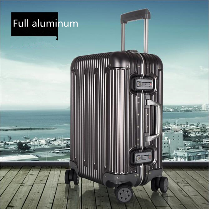 Pelican Full Aluminum Spinner Rolling Luggage Suitcase Men Bussiness Trolley Bag Valise Top Quality Male Travel Box Women Silver top quality trolley luggage bags storage box suitcase bag men travel large capacity pc pull rod trunk women waterproof rolling
