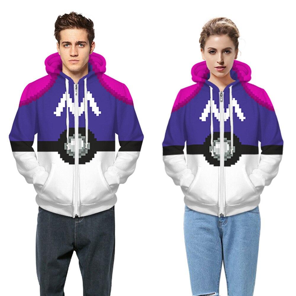 Sudaderas Mujer 2017 Men Pokemon Hooded Jacket Coat New 3D Harajuku Print Long Sleeve Zipper Winter