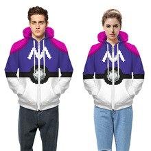 Sudaderas Mujer 2017 Men Pokemon Hooded Jacket Coat New 3D Harajuku Print Long Sleeve Zipper Winter Women Outwear Hoodies